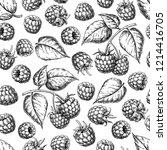 raspberry seamless pattern.... | Shutterstock . vector #1214416705