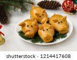 """buns """"pigs"""" for the new year...   Shutterstock . vector #1214417608"""
