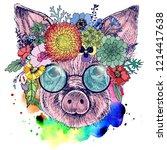 the portrait of a little pig... | Shutterstock . vector #1214417638