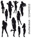 silhouettes beautiful girl | Shutterstock . vector #121442212