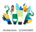 spa salon for ladies  woman...   Shutterstock .eps vector #1214424685