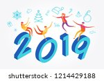 color design with numeral 2019. ... | Shutterstock .eps vector #1214429188