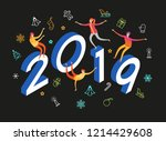 color design with numeral 2019. ... | Shutterstock .eps vector #1214429608