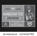 beer hand crafted  home brewed...   Shutterstock .eps vector #1214432785