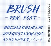 hand drawn font made by ink... | Shutterstock .eps vector #1214433022