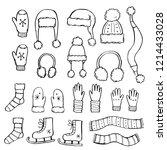 hand drawn set of winter... | Shutterstock .eps vector #1214433028