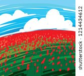 field without red poppies... | Shutterstock .eps vector #1214434612