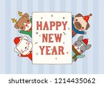 happy new year greeting card.... | Shutterstock .eps vector #1214435062