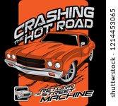 crashing hot roads  vector car... | Shutterstock .eps vector #1214453065