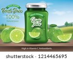 bottle of jam  lime juice in a... | Shutterstock .eps vector #1214465695