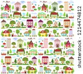cute collection funny houses... | Shutterstock .eps vector #1214474812