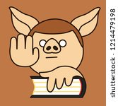 emoji with pig man that is...   Shutterstock .eps vector #1214479198