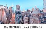 classic aerial sunset skyline... | Shutterstock . vector #1214488348