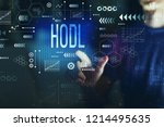 hodl with young man on a dark... | Shutterstock . vector #1214495635