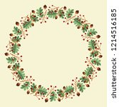 christmas hand drawn wreath... | Shutterstock .eps vector #1214516185