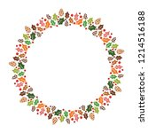 christmas hand drawn wreath... | Shutterstock .eps vector #1214516188