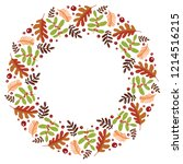 christmas hand drawn wreath... | Shutterstock .eps vector #1214516215
