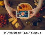 food blogger concept. young... | Shutterstock . vector #1214520535
