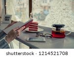 kettle with fruit tea  paper... | Shutterstock . vector #1214521708