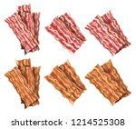 big bacon set | Shutterstock .eps vector #1214525308