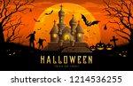 happy halloween banner castle... | Shutterstock .eps vector #1214536255