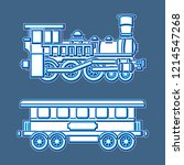 vintage locomotive and wagon...   Shutterstock .eps vector #1214547268