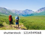 travelers with large backpacks... | Shutterstock . vector #1214549068