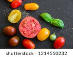 tomatoes of different colors... | Shutterstock . vector #1214550232