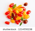 tomatoes of different colors on ... | Shutterstock . vector #1214550238