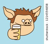emoji with thirsty curly pig... | Shutterstock .eps vector #1214554858
