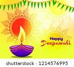 deepawali diya illustration... | Shutterstock .eps vector #1214576995