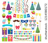 birthday party design elements. ... | Shutterstock . vector #1214580172