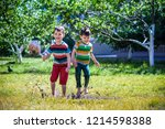 little boy and his brother play ... | Shutterstock . vector #1214598388