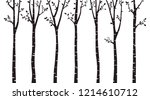 birch tree silhouette | Shutterstock .eps vector #1214610712