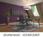 interior dining area. 3d... | Shutterstock . vector #1214612365