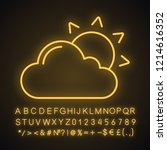 partly cloudy neon light icon.... | Shutterstock .eps vector #1214616352