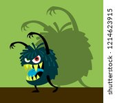 scary blue monster with shadow... | Shutterstock . vector #1214623915