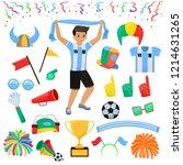 soccer fan vector football... | Shutterstock .eps vector #1214631265