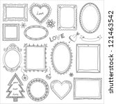 set of doodle frames and... | Shutterstock .eps vector #121463542