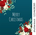 christmas bouquet frame with... | Shutterstock .eps vector #1214638285
