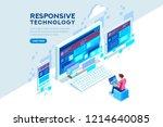 responsive internet creation ... | Shutterstock . vector #1214640085