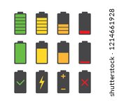 black battery charge with red ... | Shutterstock .eps vector #1214661928