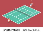 two tennis players play tennis... | Shutterstock .eps vector #1214671318