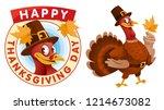 happy thanksgiving day. cartoon ... | Shutterstock .eps vector #1214673082