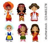 cartoon children in traditional ... | Shutterstock .eps vector #1214681278