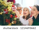 merry christmas and happy... | Shutterstock . vector #1214693662