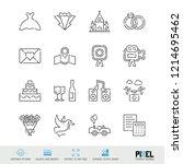 vector line icons wedding...