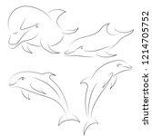 black line dolphin on white... | Shutterstock .eps vector #1214705752