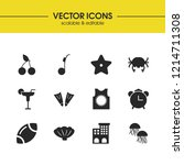 sunny icons set with ball for... | Shutterstock .eps vector #1214711308
