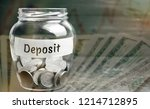 glass jar with coins and the... | Shutterstock . vector #1214712895